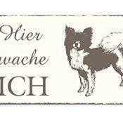 TÜRSCHILD Dekoschild « Hier wache ICH - ZWERGSPANIEL / PAPILLON » Hund Vintage Holzschild Schild Haustier Jagdhund Wachhund