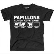Siviwonder Unisex T-Shirt Papillon Hunde Hören Aufs Wort Schwarz - Weiß S