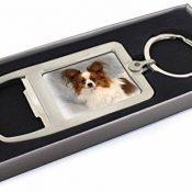 Papillon Hund Chrom-Metall- Flaschenöffner Schlüsselring Strumpffüller - 1