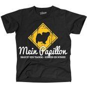 Siviwonder Unisex T-Shirt PAPILLON Wunder NO Training funny dog Sprüche Hunde + Aufkleber schwarz S - 1