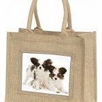 Papillon Hunde Große natürliche Jute Einkaufstasche Weihnachtsgeschenk - 1