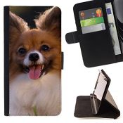 Momo Phone Case / Prämie Schwarz Flip Brief Tasche Klapp Leder Kartenhalter Schutz Hülle Case Cover - Papillon Chihuahua-Hund Klein Hundeartige - Apple Iphone 5 / 5S - 1