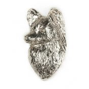 PAPILLON HEAD -PROFILE Made in U.K Artistic Style Dog Clutch Lapel Pin Collection - 1