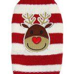 EOZY Hundepulli Haustier Dog Bekleidung Weihnachten Pullover Streifen Rentier (Büste 39cm) - 1