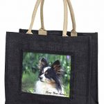 Papillon Hund 'Love You Mum' Große schwarze Jute -Einkaufstasche Weihnachtsgesch - 1