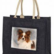 Papillon Hund Große schwarze Jute -Einkaufstasche Weihnachtsgeschenk - 1
